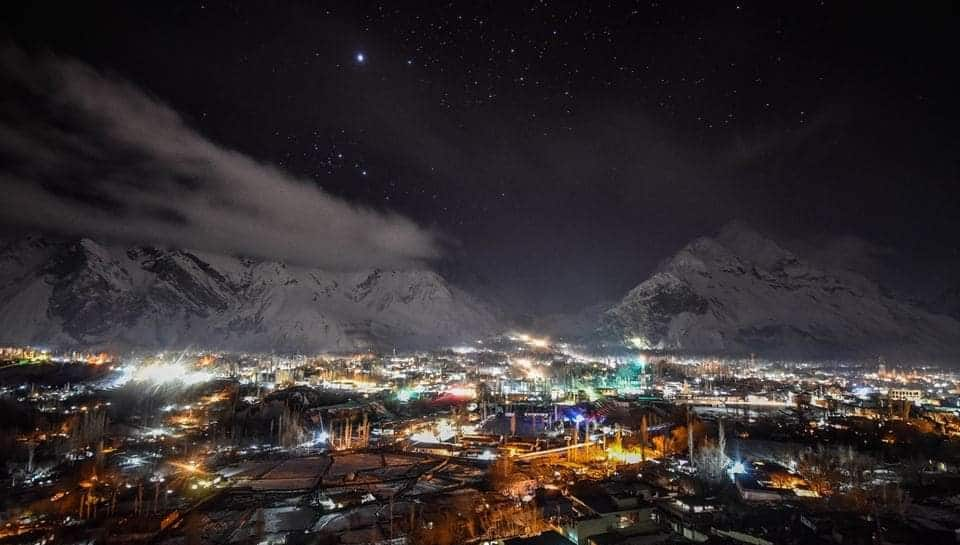 Night view of Skardu City